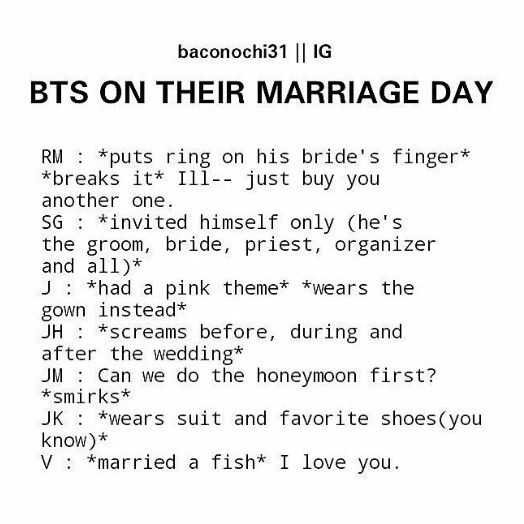 It's almost 1am and I should be getting to sleep but instead I'm cackling at the though of tae marrying a fish wow ok