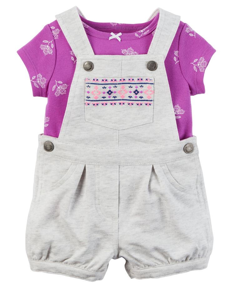 Baby Girl 2-Piece Top & Shortalls Set Crafted in cozy French terry, these puff printed shortalls are made to be played in! A sweet satin bow adorns the coordinating soft cotton tee.