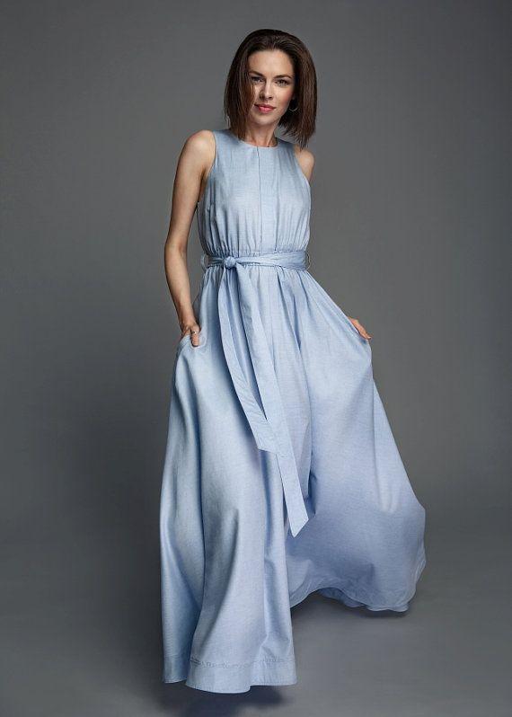 Summer dress cotton dress wide dress casual dress by MrsNoProblem