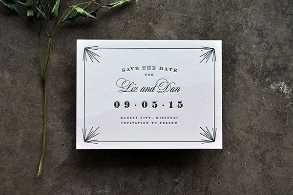 Having an Art Deco-inspired wedding? Find a save the date that recalls this glam era with its trademark design details like metallic fonts and architectural lines.