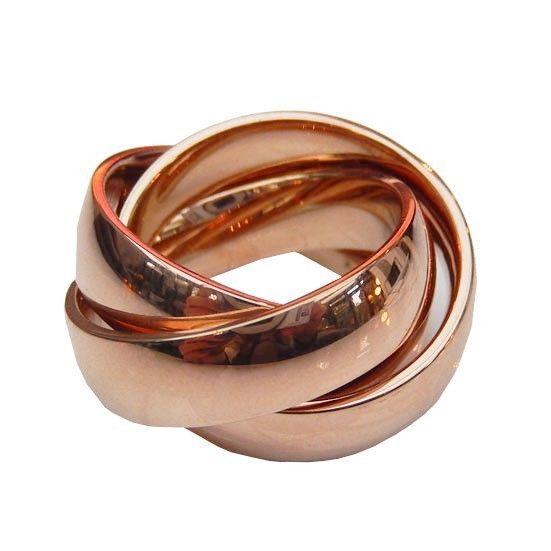 3er Edelstahl Ring Damen massiv rose gold rosegold glänzend 3fach Edelstahlring