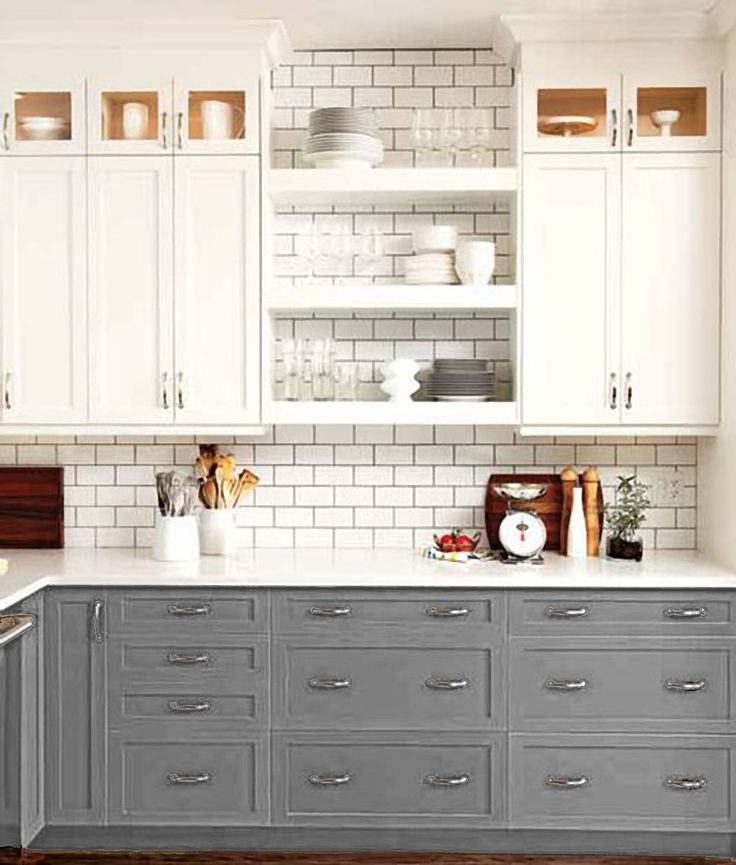 two toned kitchen cabinets. Grey. White. Open Shelves.