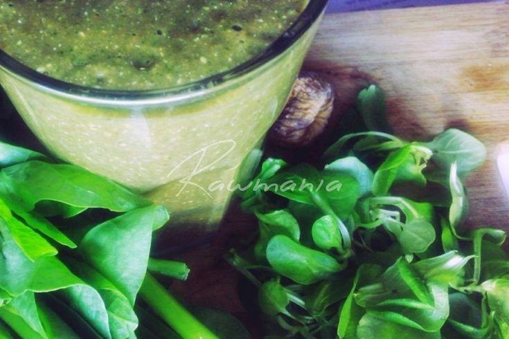 RANNÉ SMOOTHIE Z POLNÍČKA (väčšia hrsť polníčka, väčšia hrsť špenátu, 1 banán, PL sezamu, PL ľanu, 3 namoč. figy, 3 datle, PL karobu / kakaa)