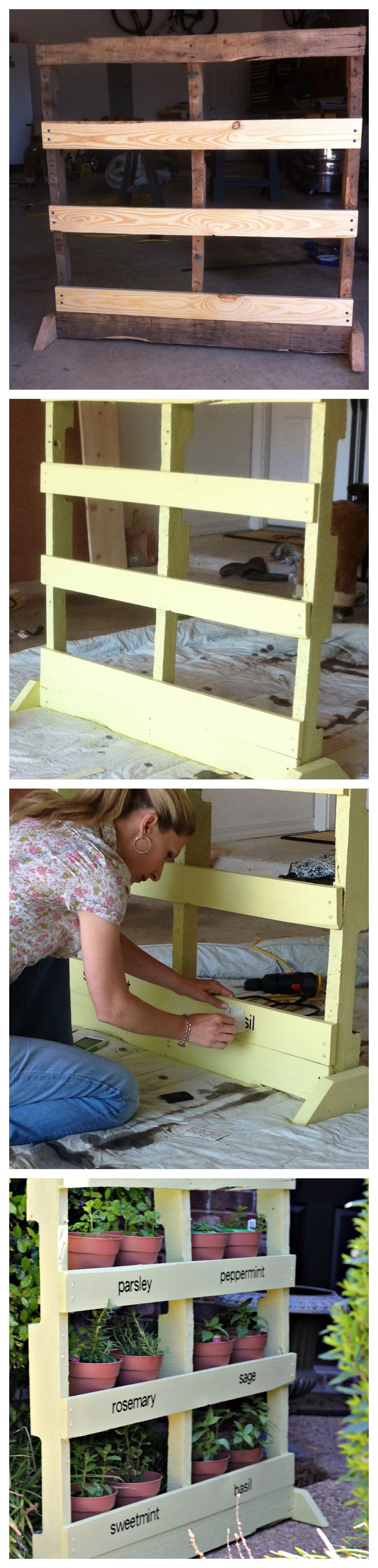 Full tutorial on how to take an old #pallet and remodel it with shelves to turn into a #diy #HerbGarden www.pinkwhen.com