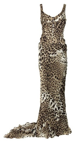 Roberto Cavalli combines a body-contouring structured bodice with a flowing floor-length skirt to create this show-stopping silk-chiffon leopard-print gown.