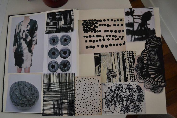 Fashion Sketchbook - monochrome print pattern development for fashion design; the creative process; fashion portfolio