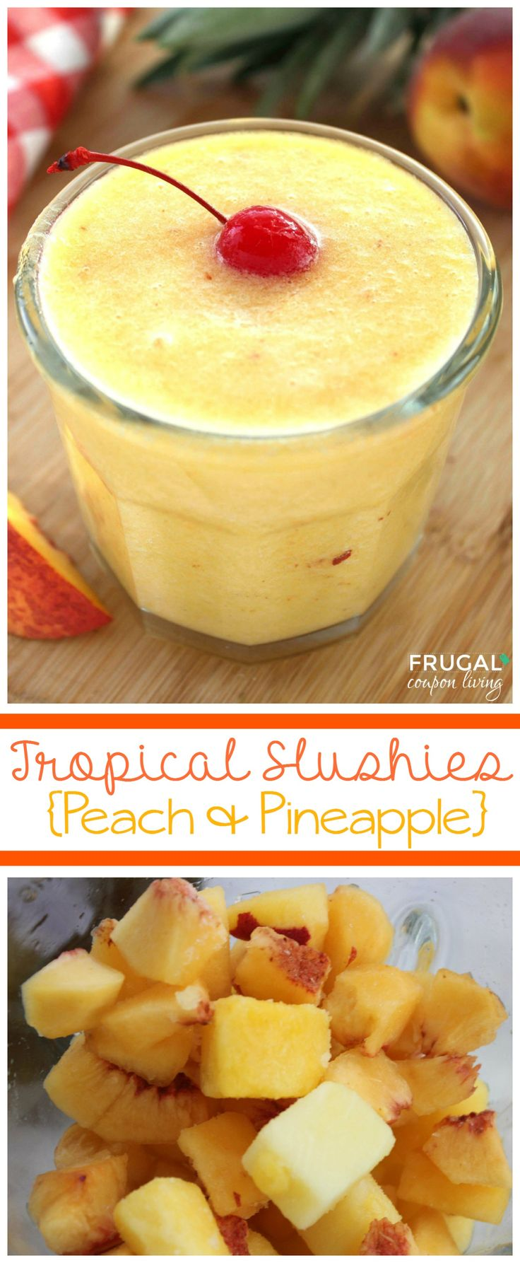 Tropical Peach and Pineapple Slushies - only 3 Ingredients! Details on Frugal Coupon Living. Perfect beach drink or summer treat!