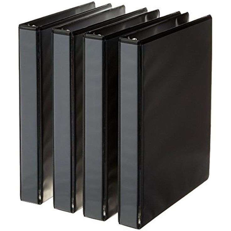 AmazonBasics 3-Ring Binder, 1 Inch 4-Pack (Black) #AmazonBasics