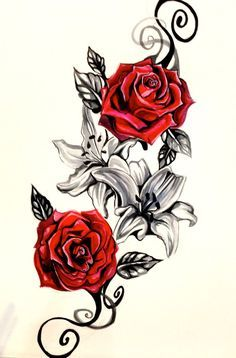 Red Rose on the vine Tattoo Designs | Lily and Rose Tattoo Design by Lucky978