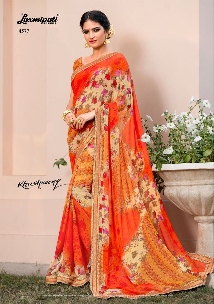 Buy this stylish multi colored #georgette #designer_printed_saree with fancy lace border along with multicolor #bhagalpuri blouse online from www.laxmipati.com. We deliver all over the world like #USA , #UK , #Canada  , #Australia , #Dubai , #Malaysia , #Mauritius, #Pakistan , #Bangladesh , #Nepal , South Asia ... Ready to   Ship Fashionable Embroidery #Georgette_Saree for Women . Catalogue-KHUSHRANG #Price - ₹ 1792.00 #Designnumber-4577