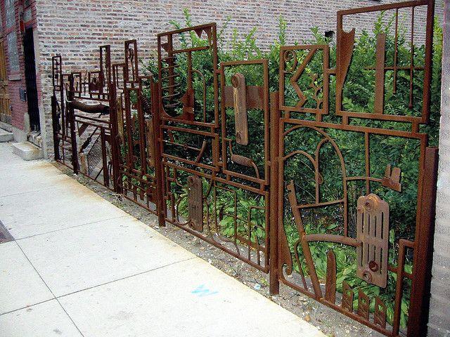 scrap metal, urban garden fence and gate