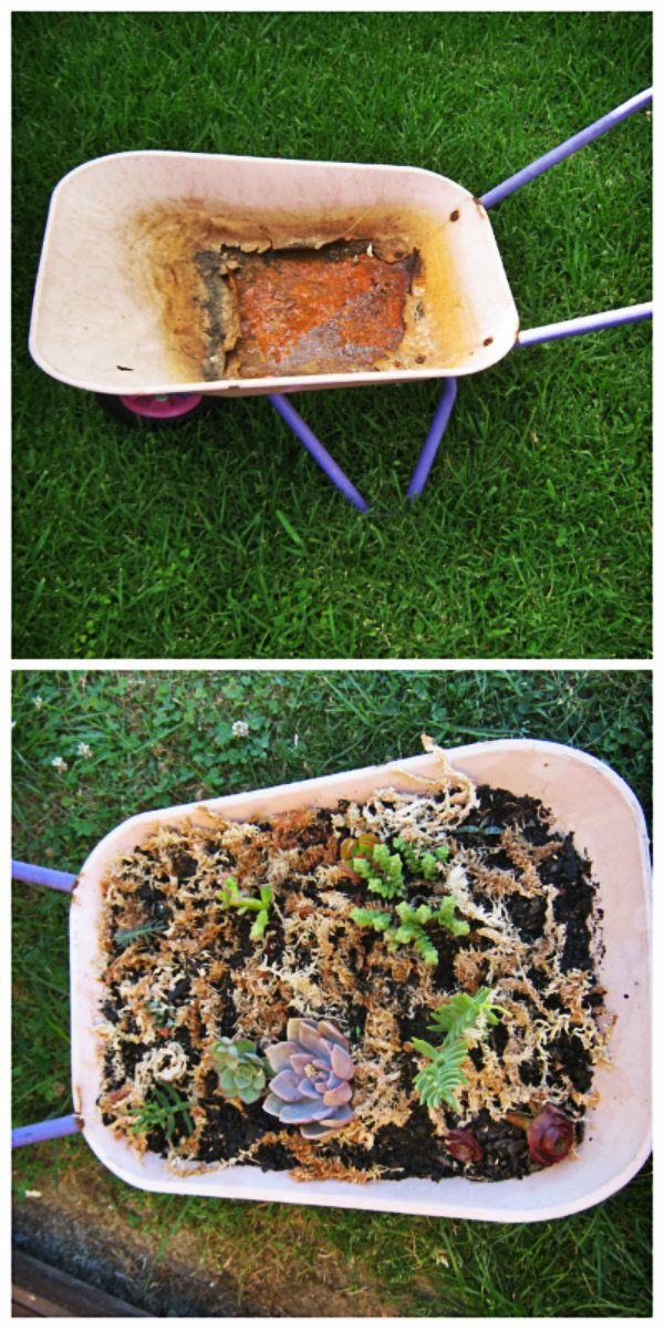 Kiddies wheelbarrow recycled