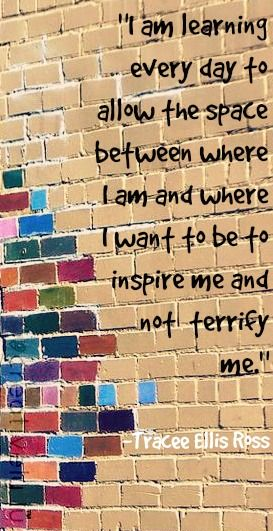 I am learning every day to allow the space between where I am and where I want to be to inspire me and not terrify me.