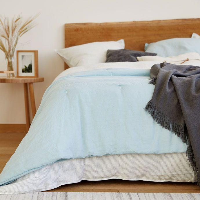 Immagine 2 del prodotto Trapunta e federa da cuscino lino lavato turchese