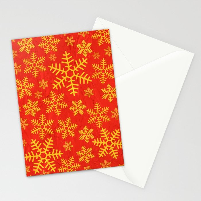 Christmas Snowflakes Stationery Cards  Christmas cards, snow, snowflakes, red, gold, festive, xmas,