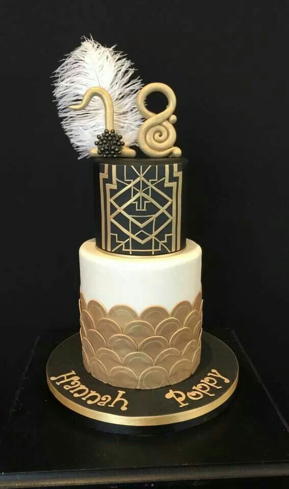 A Gatsby themed birthday cake , emphasising black and gold colours
