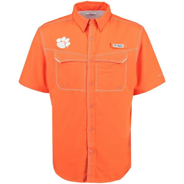 Clemson Tigers Columbia PFG Low Drag Offshore Omni-Shade Button-Up Shirt - Orange - $44.99