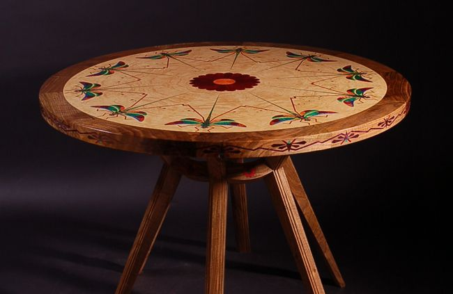 Art Deco Table with a dragonfly design made from English walnut, with multi-coloured veneer inlay. Influenced by Carlo Bugatti. #SAFF #diningtable #dragonfly #woodenfurniture