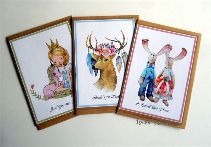 Greeting Cards Pack of 3, Friendship, Thank you & Novelty Cards