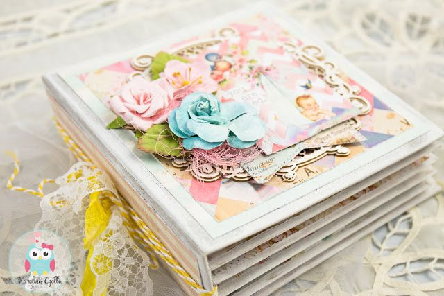 Super sweet scrapbooking Mini Album for a baby girl with Prima Marketing Heaven Sent 2 #scrapbooking #minialbums