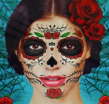 92d85ddd9 Amazon.com : Glitter Red Roses Day of the Dead Sugar Skull Temporary Face  Tattoo Kit - Pack of 2 Kits : Beauty | day of the dead | Temporary face  tattoos, ...