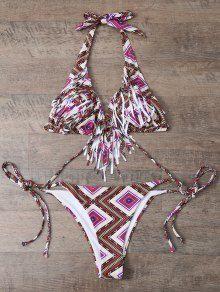 Fliesenmuster Bikini mit Fransen – M