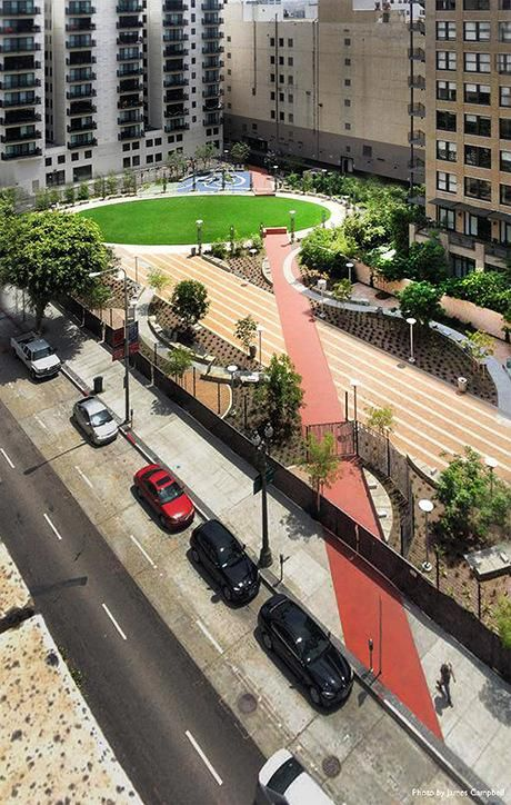 Lehrer Architects transformed two Los Angeles parking lots into the Spring Street community park, creating an urban oasis among the city's concrete structures. Click image for link to full profile and visit the slowottawa.ca boards >> http://www.pinterest.com/slowottawa/