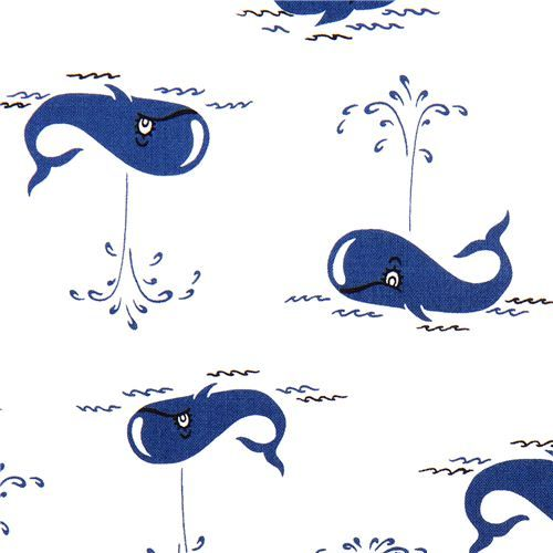 white Michael Miller fabric with blue whale from the US