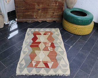 FREE SHIPPING 2.1 x 3.2 Turkish Kilim Rug Geometric Patterned Boho Rugs  Handmade Vintage Anatolian Kilim Rug  Pastel Color No 90 -    Edit Listing  - Etsy