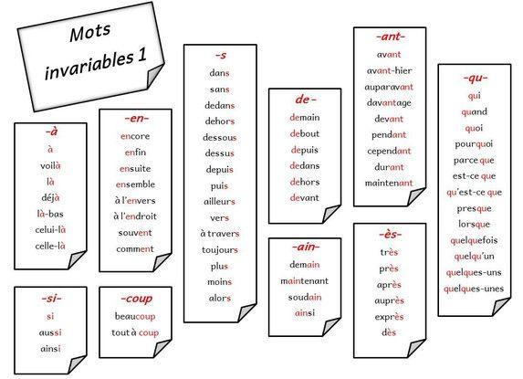 Mots invariables : fichier de dictées adaptées - Stylo rouge et crayon gris