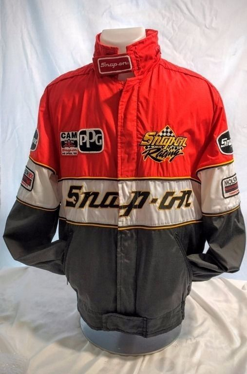 """Molson ( Canadian Beer Co.) Indy Toronto and Vancouver 1992. Dating on jacket 1992. Hidden hood in collar. SNAP-ON Racing Men's Jacket Size L with Great Badges. 26"""" measured back mid neck ( collar excluded) to hem. 