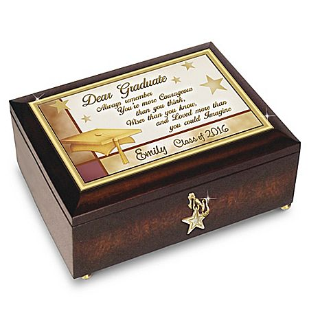 Congratulations Graduate - Personalized Music Box With Engraved Name