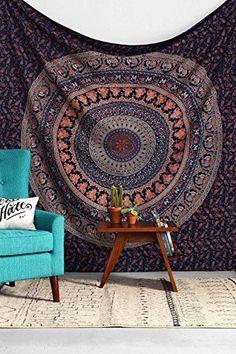 Navy Orange Forest Boho Mandala Bohemian Tapestry Indian Dorm Decor Tapestry Wall Hanging