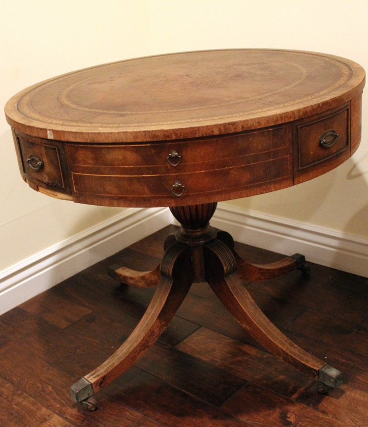 Antique Round Leather Top Coffee Table: Vintage Antique Round Table W Metal Feet And Drawer