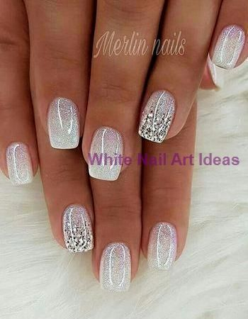 Pink And White Glitter Ombre Nails Nursing Home…