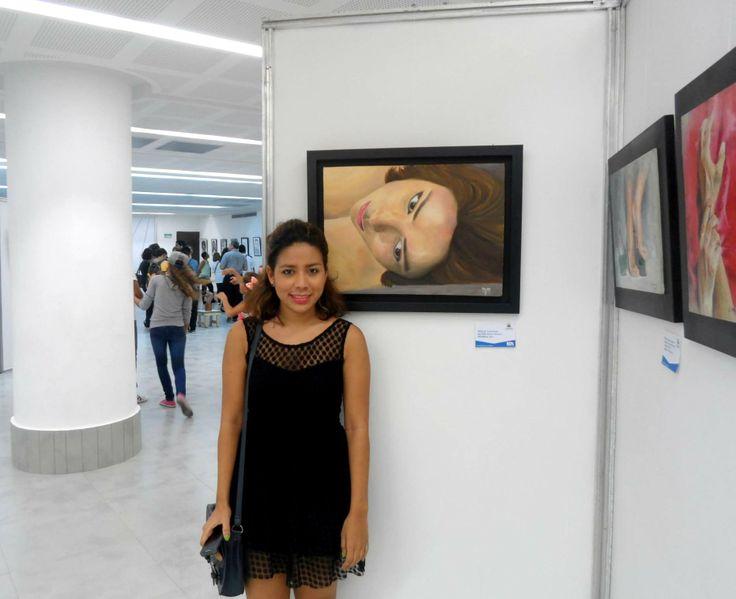 Exposición de arte en la galería de la plaza de la paz... presentando: Autorretrato MM. técnica oleo sobre lienzo.