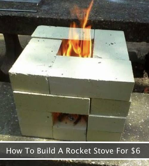 Rocket stoves get their name from the intense heat they can produce when flames shoot straight up through a narrow opening. This means you can cook much faster…even in windy conditions. Made entirely of cement or cinder blocks, these strategic little fire fortresses really pump out the heat. Plus, they are amazingly easy to build.