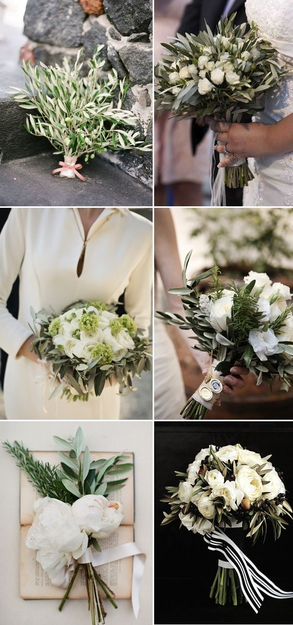 A selection fo gorgeous bouquets with olive branches. Google Image Result for http://alexanevents.com/blog/wp-content/uploads/2012/05/final-bouquets1.jpg