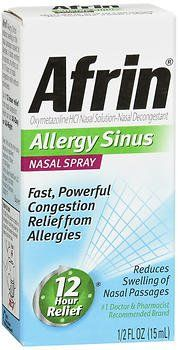 Afrin Sinus Spray Size .5z Afrin Sinus Spray .5z:   Oxymetazoline HCI/Nasal Decongestant. Fast, powerful congestion relief. No. 1 doctor and pharmacist recommended brand. Easy action pump delivers a fine mist in a precise, measured dose. Afrin starts to work in seconds providing 12 hours of nasal congestion.