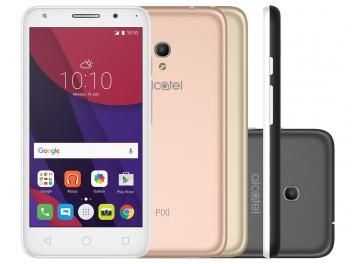 Smartphone Alcatel PIXI4 5 Metallic 8GB Branco - Dual Chip 4G Câm. 8MP + Selfie 5MP Cartão 16GB