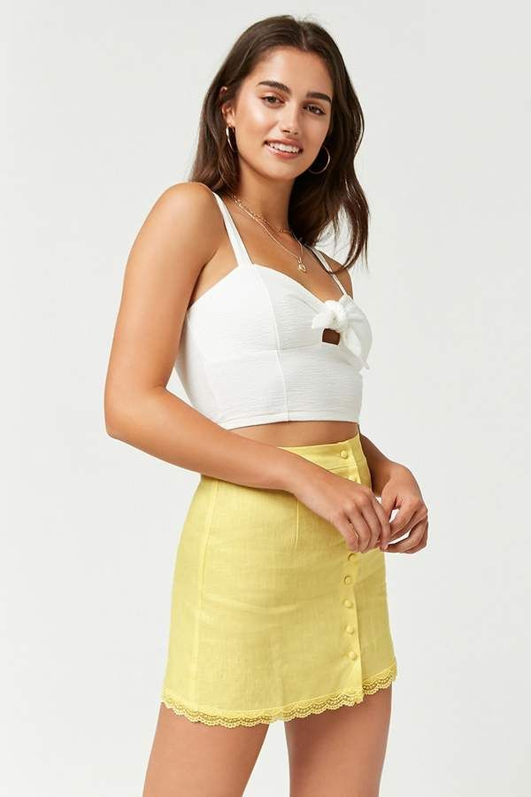 ea3eafdc93 Forever 21 Linen Button-Front Skirt | Beauty Snap in 2019 | Button ...