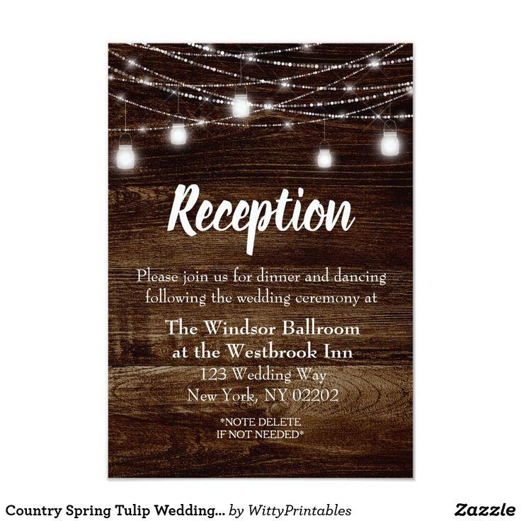 Country Spring Tulip Wedding Reception Card
