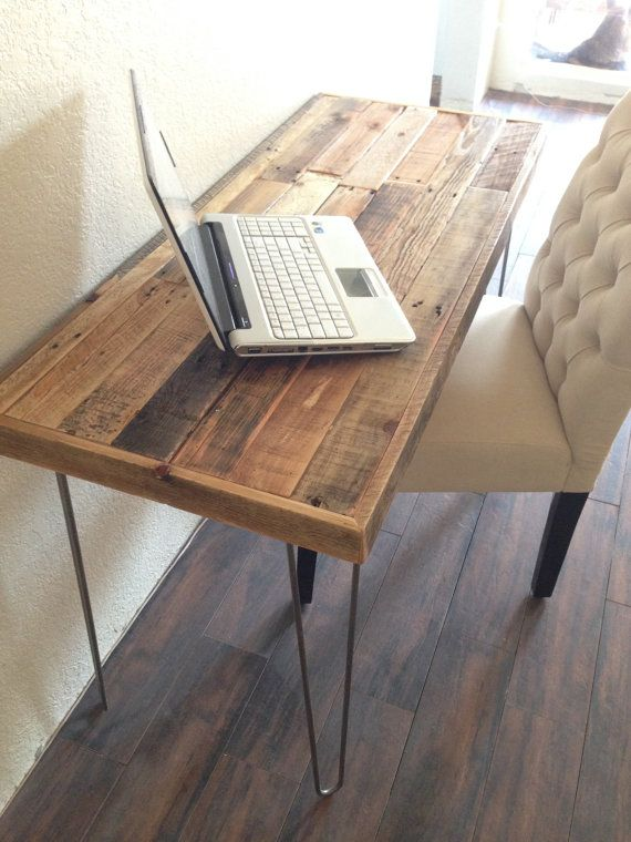 reclaimed wood modern steel hairpin leg desk work by KaseCustom
