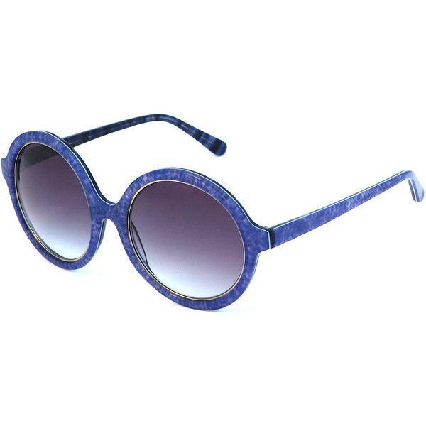 Heidi London - Denim Print Circular Sunglasses Blue (€235) ❤ liked on Polyvore featuring accessories, eyewear, sunglasses, glasses, uv protection sunglasses, party glasses, circular glasses, blue sunglasses and blue lens glasses