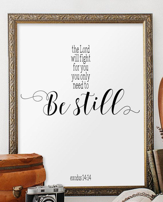 Exodus 14:14 Bible verse wall art Be still von TwoBrushesDesigns