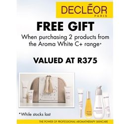 Wow what a special - get 10% discount plus the Free Gift when you buy any 2 (Two) Decleor Aroma White C+ products - the Free Gift is Valued at R375. hurry with this one. Bargains do exist!
