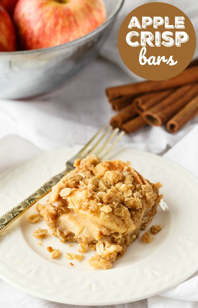Almost a Slice  Apple Crisp Bars - This delicious fall dessert is easy to make and guaranteed to be enjoyed by all!