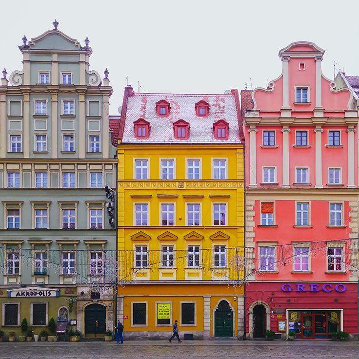 Bright and colorful houses in Wroclaw, Poland.