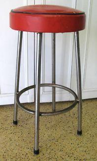 $40 RETRO Vintage BAR STOOL Red VINYL 36x69cm Text 0411691171 or email info@bitspencer.com