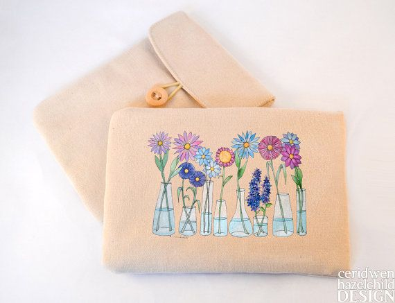 Flower Vases Digital Media Case ipad Case Kindle Case Tablet Case Padded Sleeve Protective Case by ceridwenDESIGN http://ift.tt/1S6JTvd